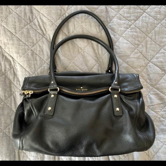 Kate Spade black leather fold-over zip flap bag